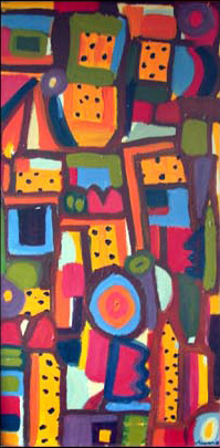 Painting by Justine Roland-Cal - Abstract melons