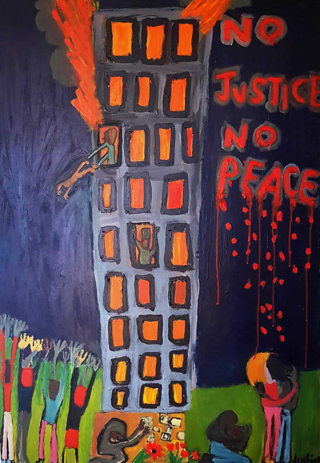 Painting by Justine Roland-Cal - Justice for Grenfell