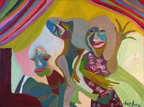 Painting by Justine Roland-Cal - The entertainers