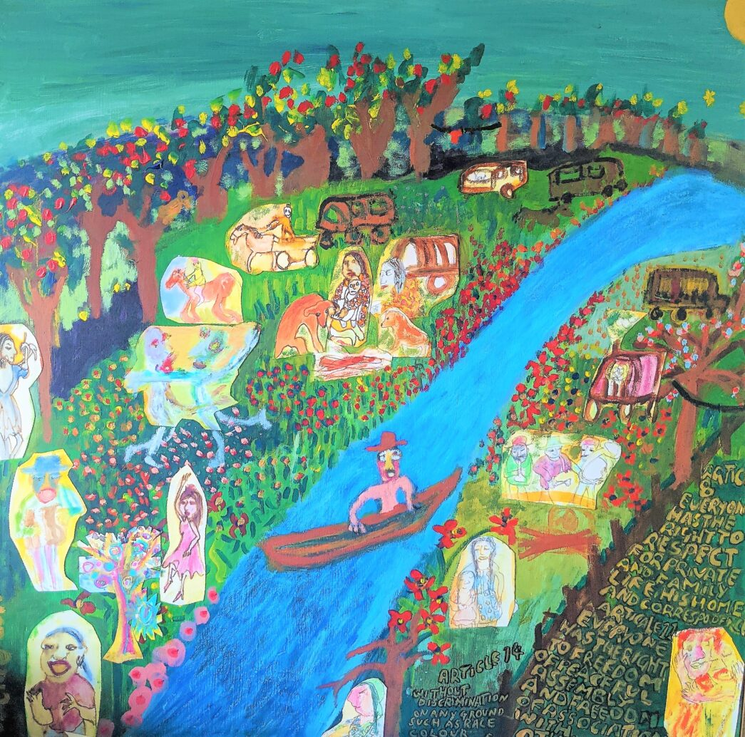 Painting by Justine Roland-Cal - The travellers / The right to travel