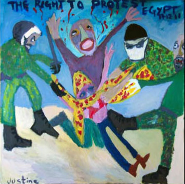 Painting by Justine Roland-Cal - Egypt / The right to protest