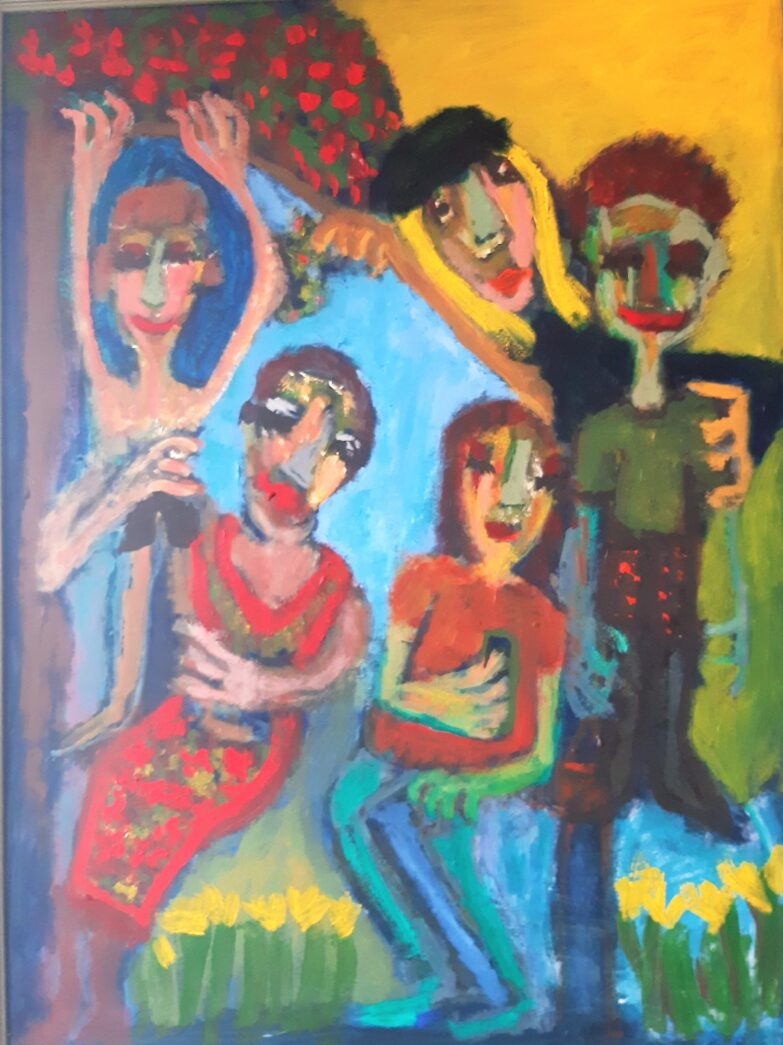 Painting by Justine Roland-Cal - The Family