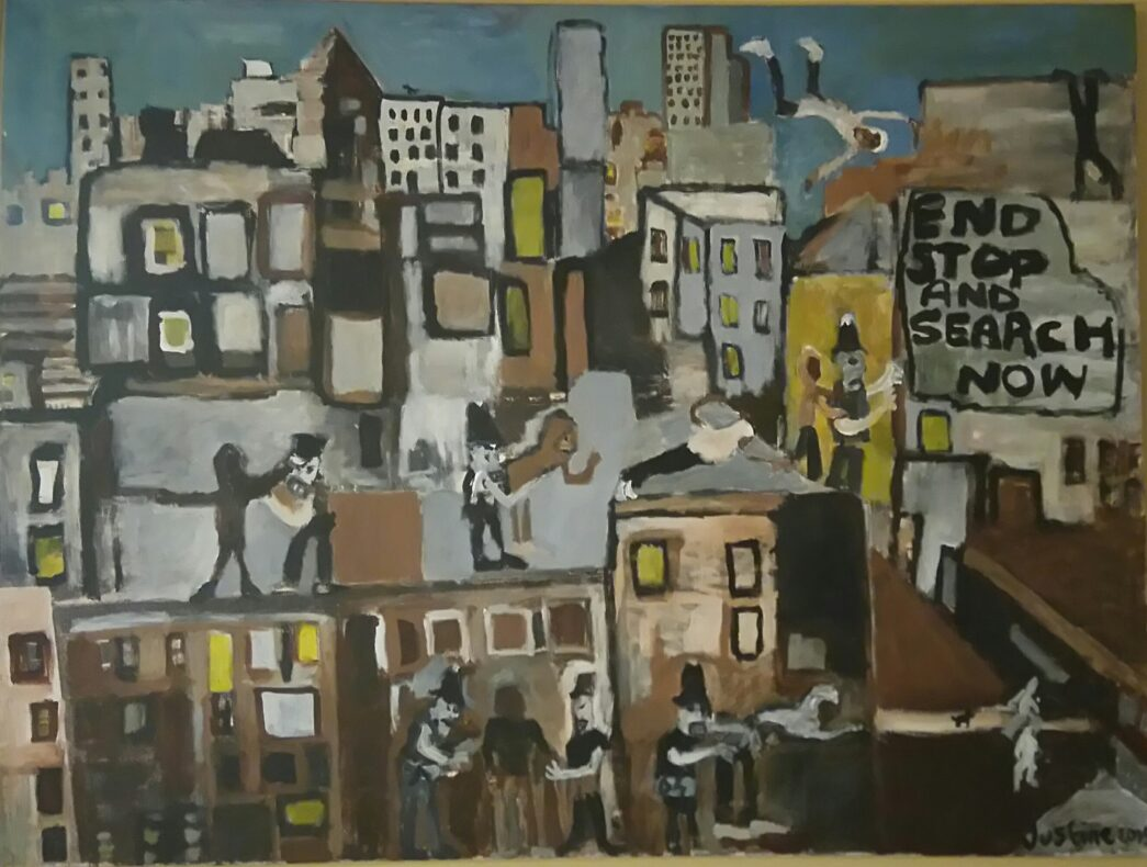 Painting by Justine Roland-Cal - Stop and Search